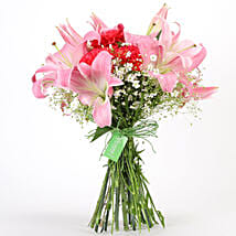 Carnations & Lilies Hand Tied Bunch: Send Lilies
