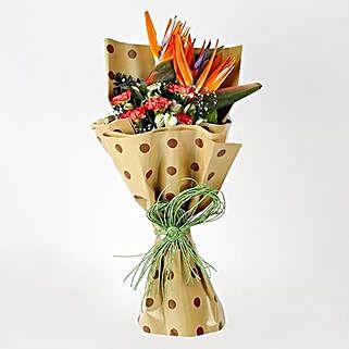 Carnations Orange Bird of Paradise Bouquet: Exotic Flowers