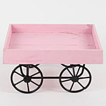Cart Shaped Wood & Metal Vase Pink: Pots and Planters