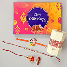 Celebrations Chocolates With Family Rakhi Set: Bhaiya Bhabhi Rakhi Set
