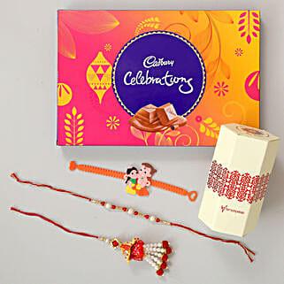 Celebrations Chocolates With Family Rakhi Set: Send Rakhi for Kids
