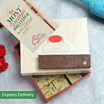 Chocolate Barfi And rakhi hamper: Rakhi With Sweets Amritsar