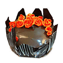Chocolate Cake With Red Flowers: Send Bhai Dooj Gifts to Ludhiana