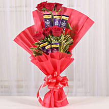 Chocolate Rose Bouquet: Rakhi With Mugs