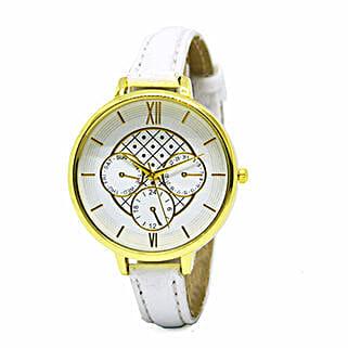 Chrono Print White Watch For Women: Watches