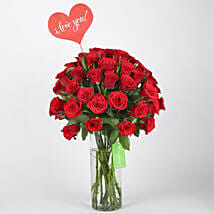 Classic Red Roses in Glass Vase: Valentines Day Gifts for Girlfriend