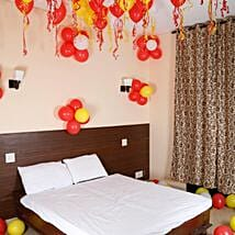 Colorful Balloons Decor Red White & Yellow: Send Anniversary Gifts to Noida
