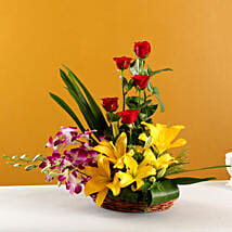 Colourful Blooms Basket Arrangement: Mothers Day Flowers to Hyderabad