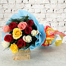 Colourful Mixed Roses Bouquet: Mothers Day Flowers Delhi