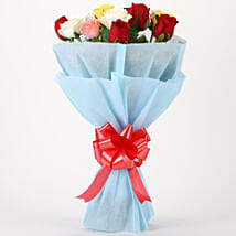 Colourful Mixed Roses Bouquet: Send Anniversary Flowers for Her