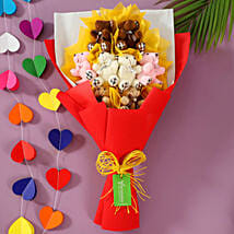 Colourful Teddy Bouquet: Valentines Day Soft toys