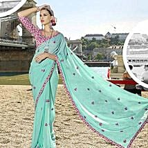 Cool Blue Chiffon Traditional Embroidered Saree: