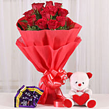 Cuddly Affair: Flowers & Teddy Bears for Anniversary
