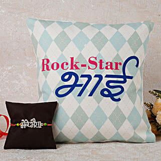 Cushion Rakhi Combo For Rockstar Bro: Rakhi With Cushions