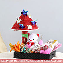 Cute Floral Tray Of Goodies: Karwa Chauth Gift Hampers
