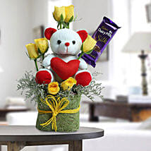 Cute Teddy Surprise: Flowers & Teddy Bears - Friendship Day