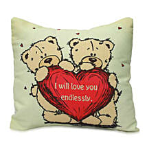 Cute Teddy With Message Cushion: Womens Day Gifts to Gurgaon