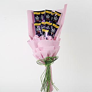 Dairy Milk Chocolates Pink Paper Bouquet: Chocolates for Karwa Chauth