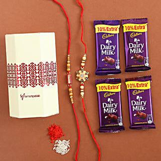 Dairy Milk & Designer Rakhi Set of 2: Rakhi to Kalol