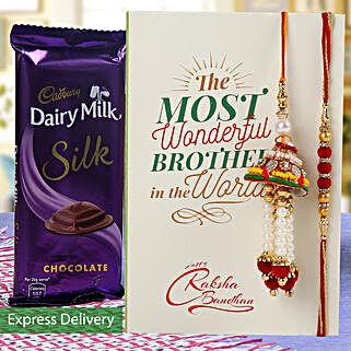 Dairy Milk Silk And Rakhi Combo: Rakhi With Chocolates Bestsellers