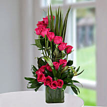 Dark Pink Roses Arrangement: Flower Arrangements