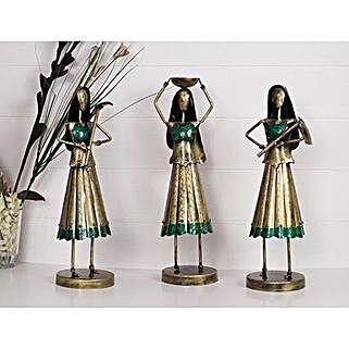 Decorative Lady Farmer Figurine VIntage Set: Home Decor Gifts Ideas