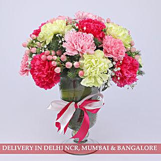 Delightful Colourful Carnations Arrangement: Exotic Flowers