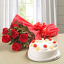 Red Roses & Pineapple Cake Combo: Flower Delivery In Sonipat