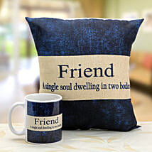 Denim print mug and cushion: Friendship Day Gifts Ahmedabad