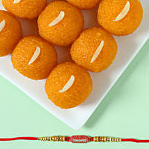 Designer Ethnic Rakhi & Moti Choor Laddu: Send Rakhi With Sweets to Rajkot