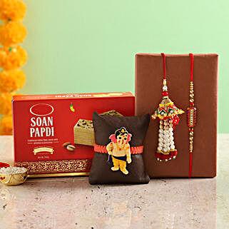 Designer Rakhi Set & Soan Papdi: Rakhi Bestsellers For Bhaiya Bhabhi
