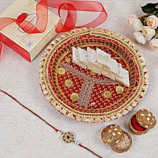 Designer Rakhi Sweets Thali: Pooja Thali