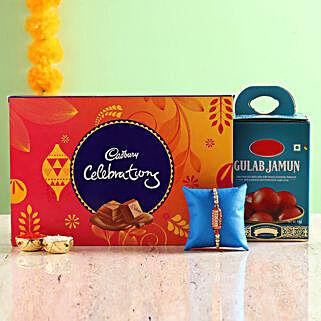 Designer Rakhi With Gulab Jamun & Chocolate Box: