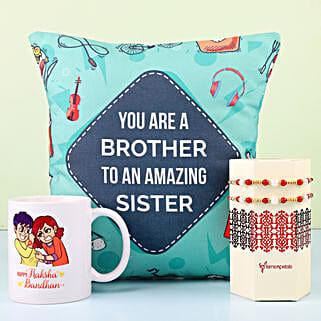 Designer Rakhi With Mug & Cushion For Bro: Rakhi for Brother