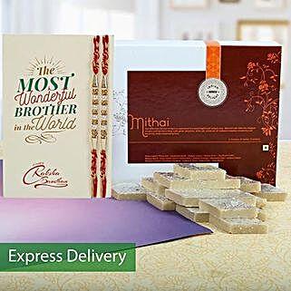 Designer Rakhis And Kaju Katli Combo: Rakhi With Sweets Bestsellers