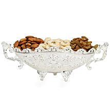 Designer Silver Dry Fruits Tray: Gourmet Gifts for Her