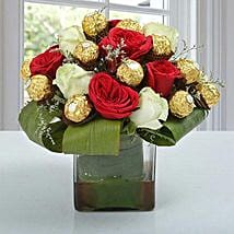 Roses & Ferrero Rocher in Glass Vase: Bhai-Dooj Gifts Bengaluru