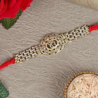 Ek Onkar American Diamond Chain Rakhi: Rakhi Gifts to Hyderabad