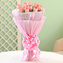Elegance - Pink Roses Bouquet: Gifts to Udupi