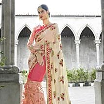 Elegant Off White and Pink Floral Embroidery Wedding Saree: Apparel Gifts