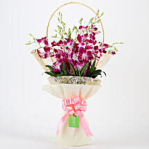 Elegant Purple Orchids Bouquet: Send Anniversary Flowers for Her