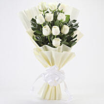 Elegant White Roses Bouquet: Flowers delivery in Vapi