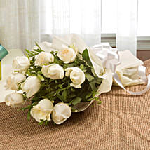 Elegant White Roses Bouquet: Flowers to Aligarh