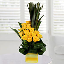 Enchanting Yellow Rose Arrangement: Diwali Flowers