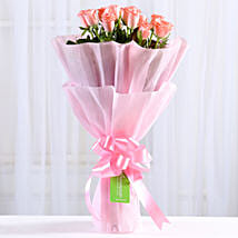 Endearing Pink Roses Bouquet: Send Valentine Flowers to Haldwani
