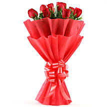 Enigmatic Red Roses Bouquet: Girlfriend Day Flowers