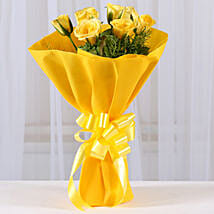 Enticing Yellow Roses Bouquet: Valentine Flowers Udupi