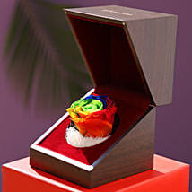 Eternal Multicolour Forever Rose In Wooden Box: Birthday Flowers