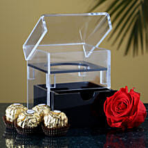 Eternal Red Forever Rose With Ferrero Rocher: Order Chocolates