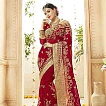 Ethnic Red Embroidered Faux Georgette Saree: Apparel Gifts